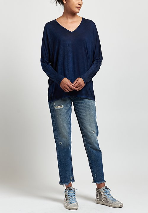 Avant Toi Oversized V-Neck Top in Nero/Denim