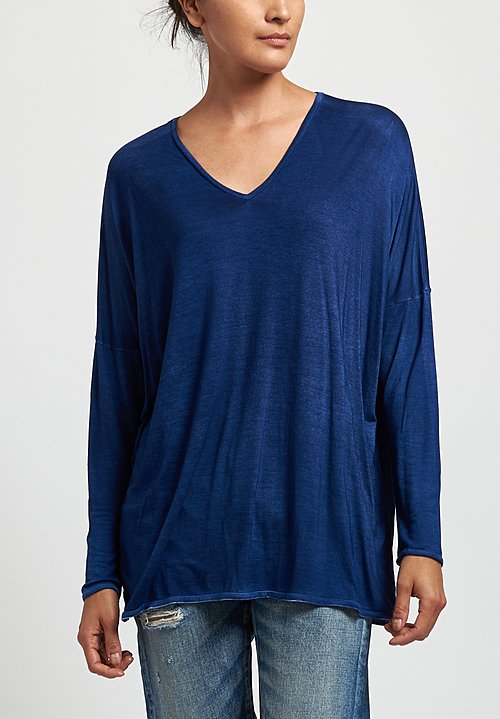 Avant Toi Oversized V-Neck Top in Denim
