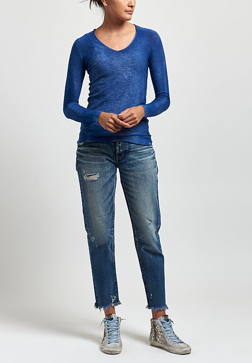 Avant Toi Cashmere/ Silk Hand-Painted V-Neck Sweater in Denim
