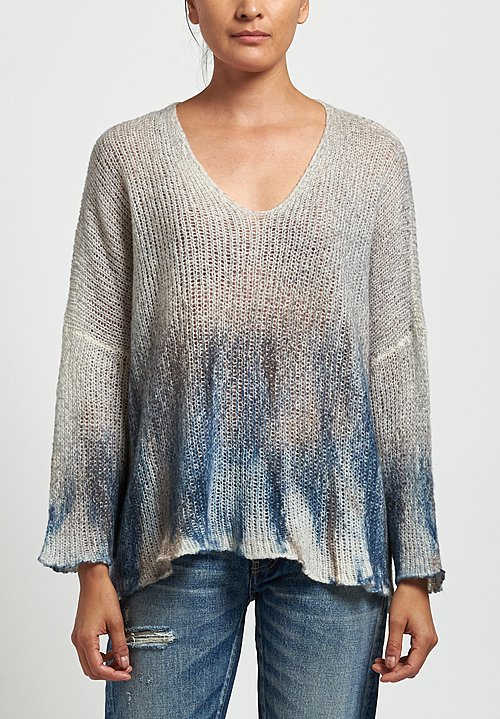 Avant Toi Cashmere/ Silk Painted Loose Knit Sweater in Marmo/ Denim
