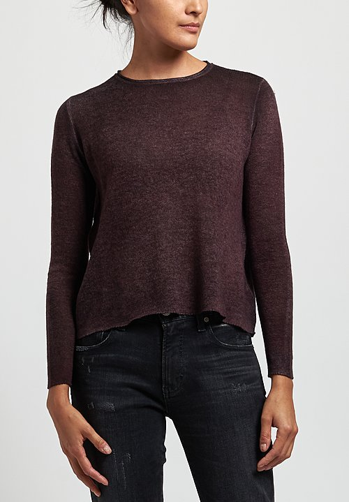Avant Toi Cashmere Lightweight Crew Neck Sweater in Nero/ Terre