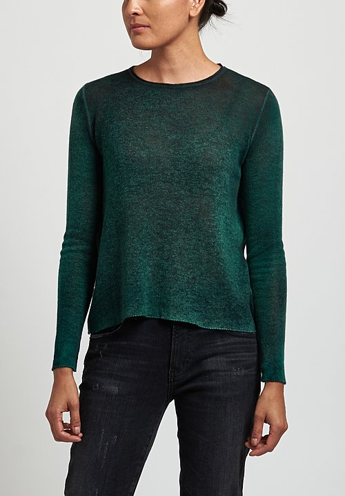 Avant Toi Cashmere Lightweight Crew Neck Sweater in Nero/ Smeraldo