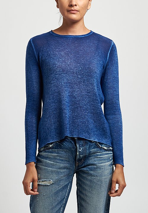 Avant Toi Cashmere Lightweight Crew Neck Sweater in Denim