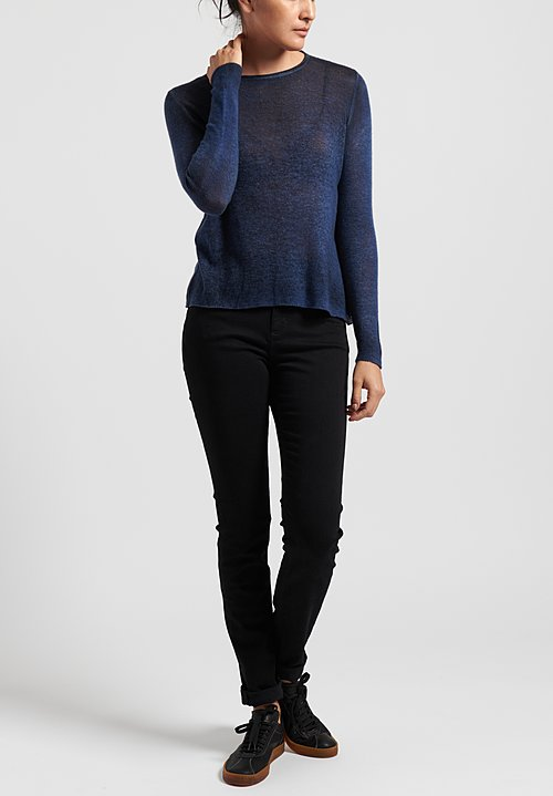 Avant Toi Cashmere Lightweight Crew Neck Sweater in Navy