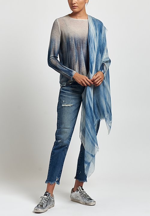 Avant Toi Cashmere Painted Crew Neck Sweater in Marmo/ Denim