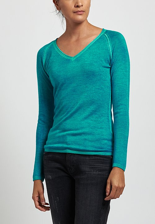 Avant Toi Cashmere/ Silk Raglan Sleeve V-Neck Sweater in Turchese