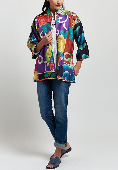 Etro Silk Twill Reversible Tweed Print Jacket in Multi/ Flower