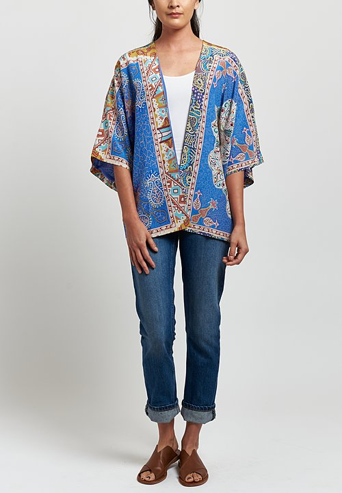 Etro Silk Pointalism Paisley Kesa Jacket in Blue/ Orange