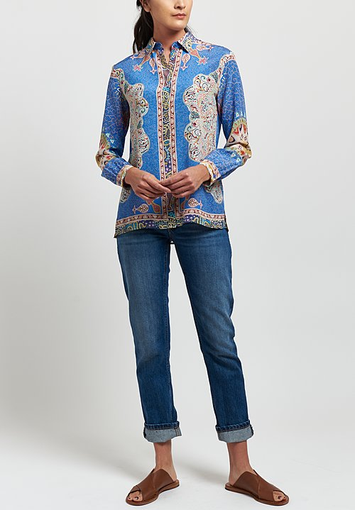 Etro Silk Pointalism Paisley Shirt in Blue