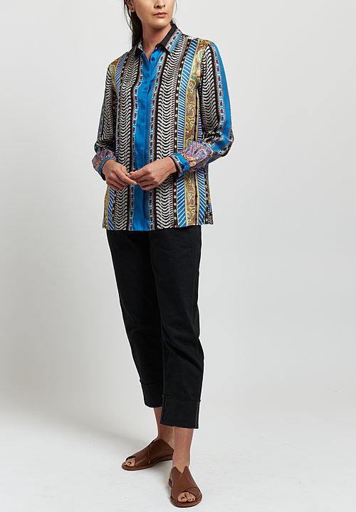 Etro Silk Twill Mixed Geometric Print Shirt in Blue