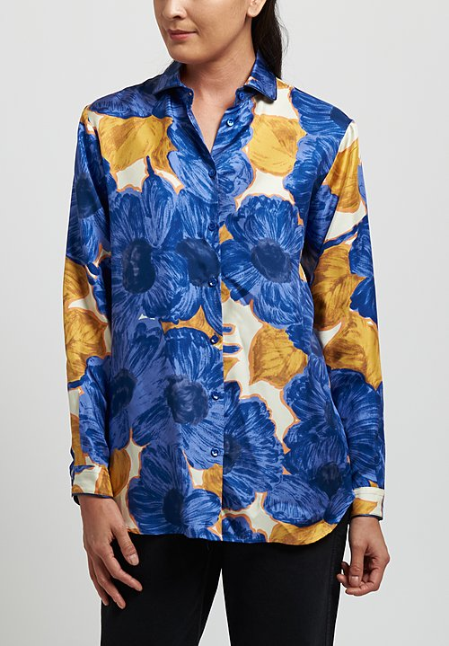 Etro Silk Large Flower Print Shirt in Blue Purple