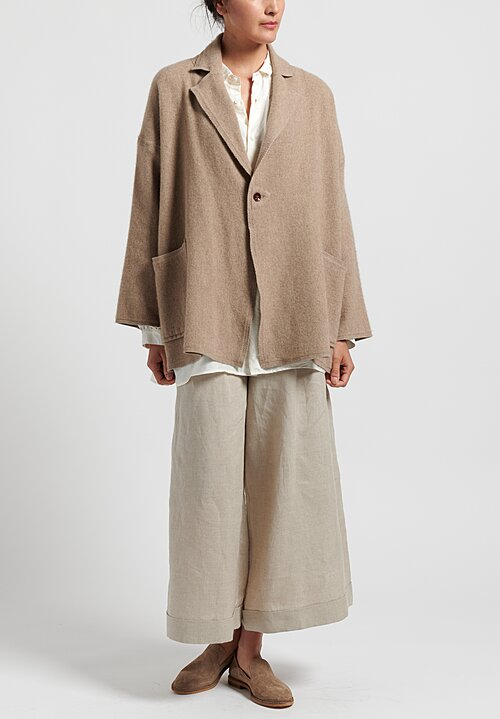 Kaval Cashmere Woven Stole Jacket in Natural