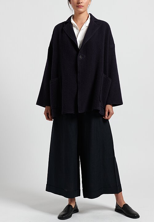 Kaval Cashmere Woven Stole Jacket in Dark Navy