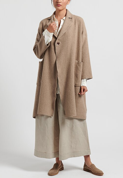 Kaval Long Cashmere Woven Stole Coat in Natural
