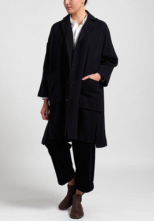 Kaval Long Cashmere Woven Stole Coat in Dark Navy