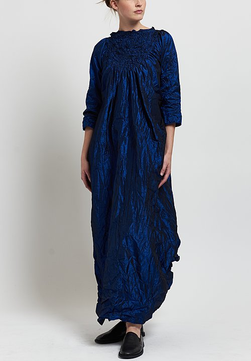 Daniela Gregis Washed Silk Ruched Dress in Electric Blue