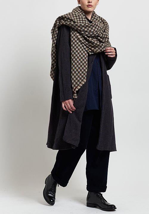 Daniela Gregis Wool Long Houndstooth Andrea Coat in Brown/ Navy