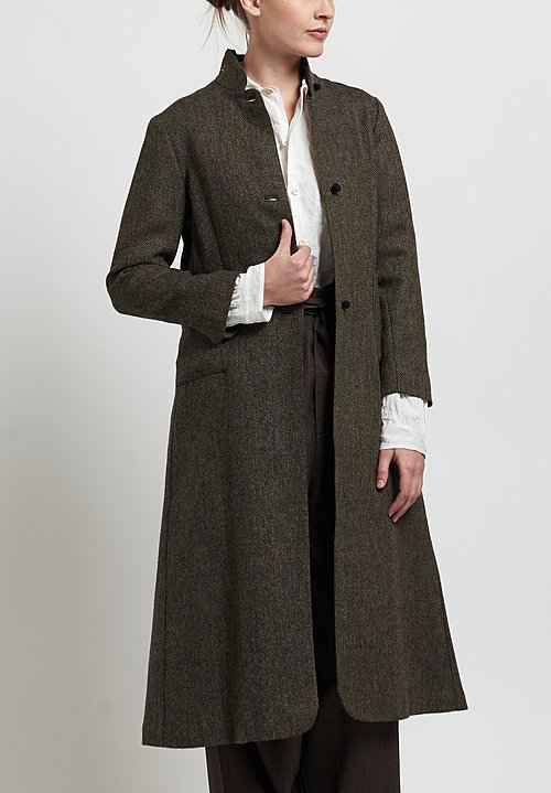 Daniela Gregis Wool Herringbone Coat in Brown/ Navy