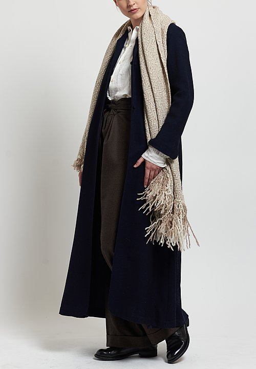 Daniela Gregis Wool Long Coat in Navy Blue