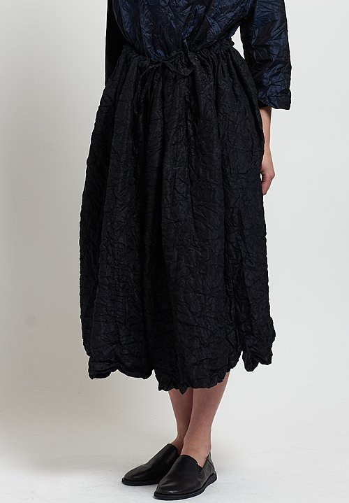 Daniela Gregis Washed Silk Quilted Drawstring Skirt in Black