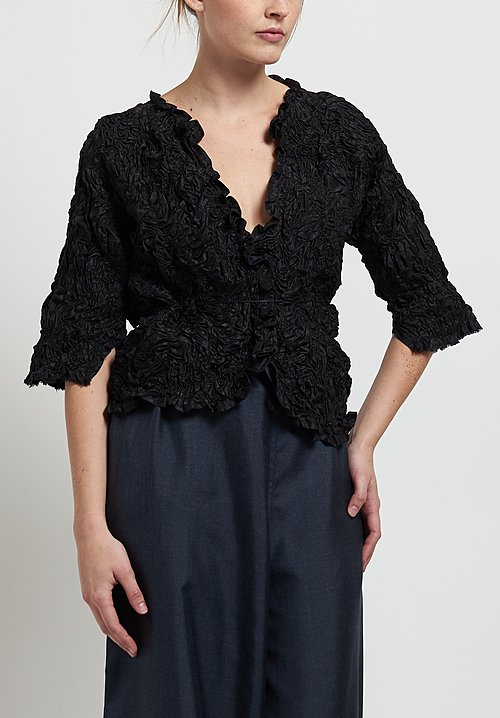 Daniela Gregis Washed Silk Ruched Jacket in Black