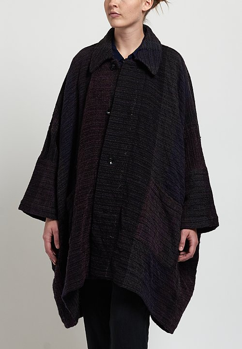 Kaval Handwoven Big Haori Coat in Mixed Purple