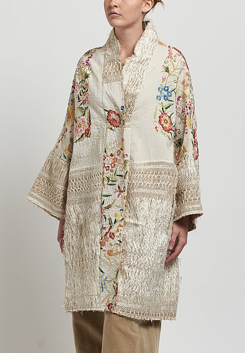 By Walid Silk Piano Shawl Jasemine Coat in Ivory/ Pink