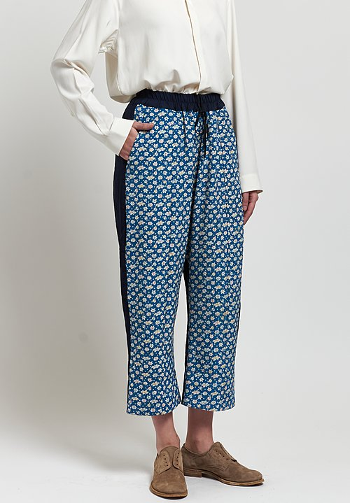 By Walid Linen/ Silk Jenny Trousers in Indigo