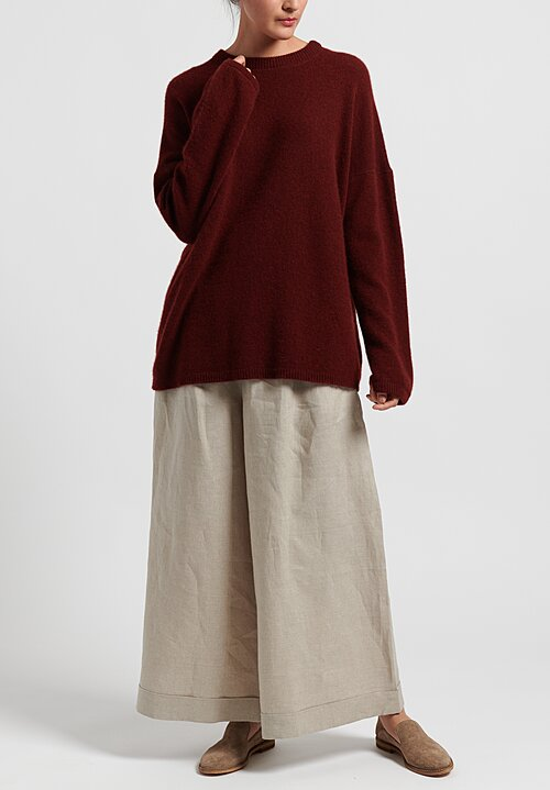 Kaval Cashmere/ Sable Crew Neck Knit in Red