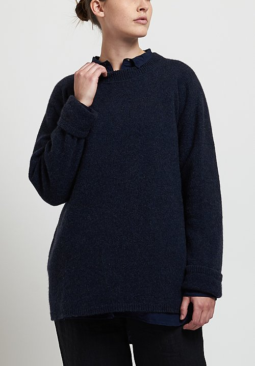 Kaval Cashmere/ Sable Crew Neck Knit in Navy