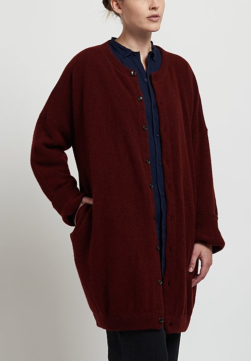 Kaval Cashmere/ Sable Oversize Long Cardigan in Red