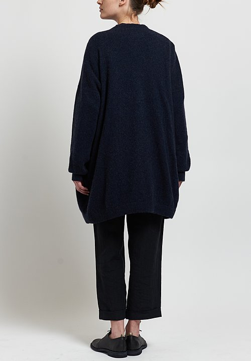 Kaval Cashmere/ Sable Oversize Long Cardigan in Navy