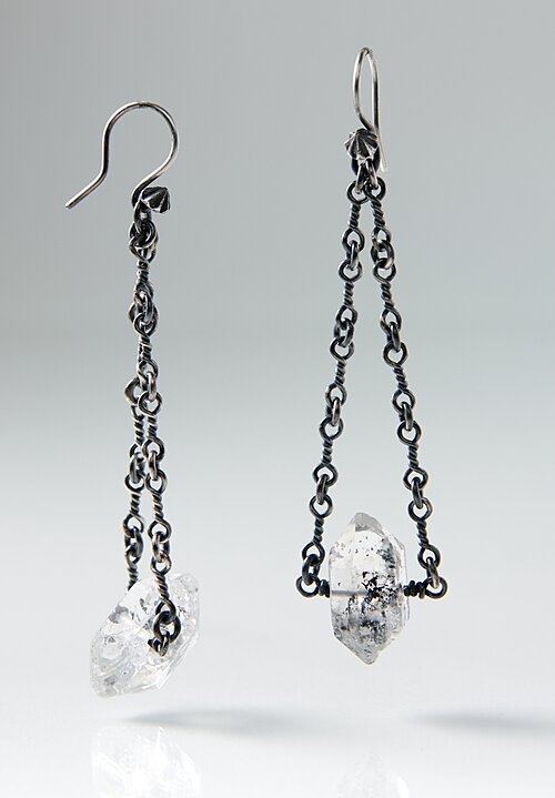 Miranda Hicks Sterling, Herkimer Diamond, Twisted Chain Earrings