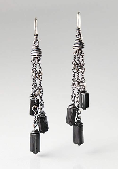 Miranda Hicks Sterling, Black Tourmaline, Twisted Link Earrings