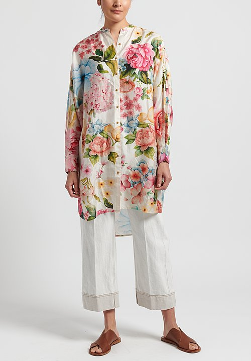 Péro Silk Floral Oversized Button Down in White/ Pink