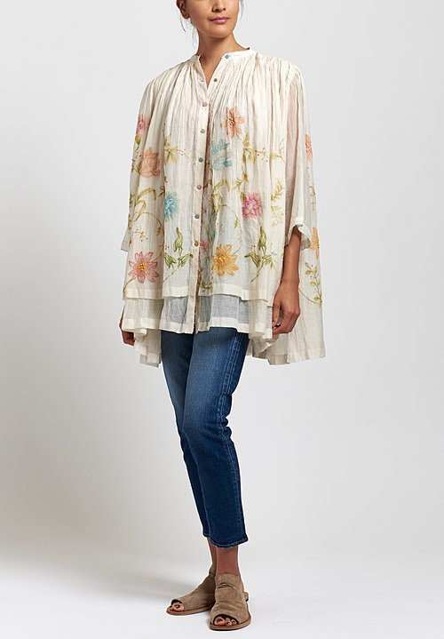 Péro Cotton/ Silk Embroidered Gathered Top in Off Whit