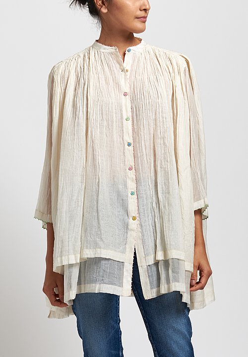 Péro Cotton/ Silk Solid Gathered Top in Off White