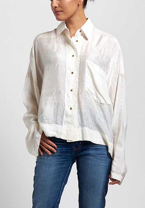 Péro Silk Solid Long Sleeve Shirt in White/ Red Stitches