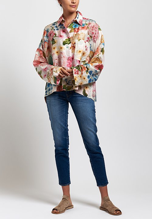 Péro Silk Floral Long Sleeve Shirt in White/ Pink