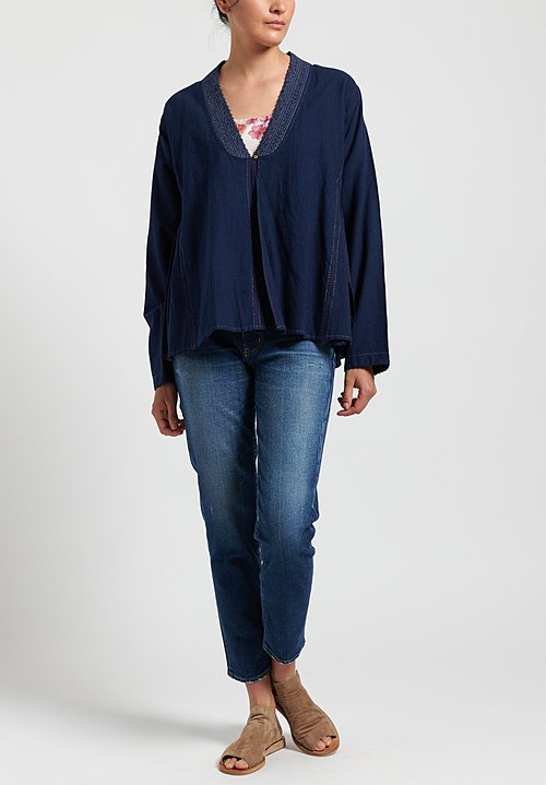 Péro Linen/ Silk Embroidered Top in Navy Blue