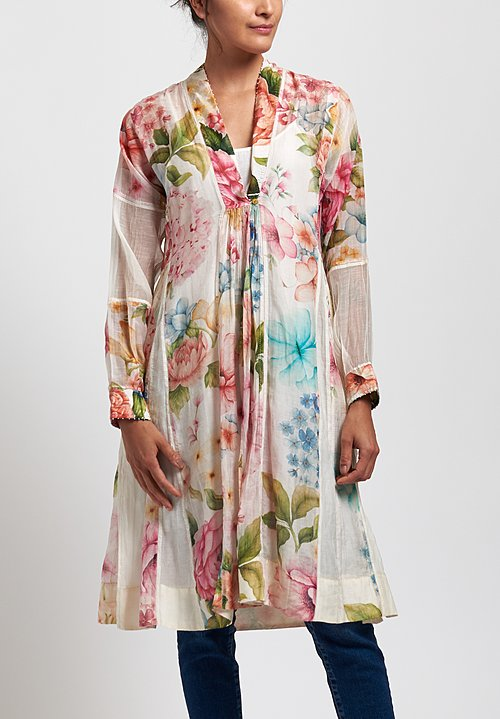 Péro Cotton/ Silk Floral V-Neck Dress in White/ Pink