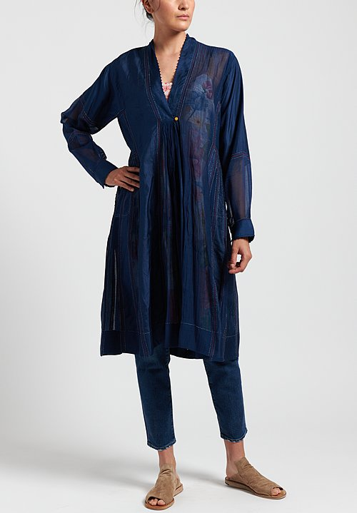Péro Silk/ Cotton V-Neck Dress in Navy Blue