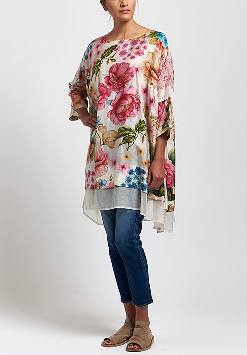 Péro Silk Floral Tunic in White/ Pink