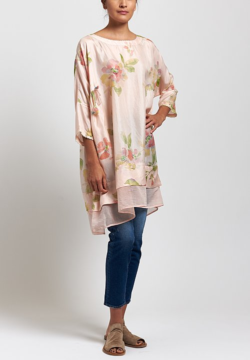 Péro Silk Floral Tunic in Peach