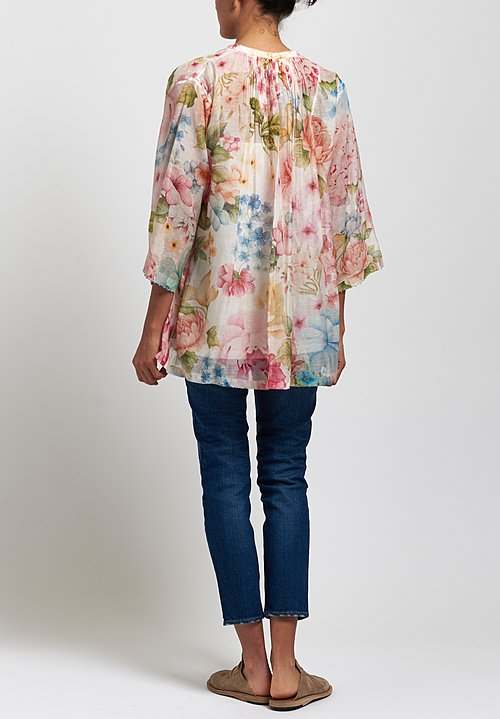 Péro Cotton/ Silk Floral Gathered Shirt in White/ Pink