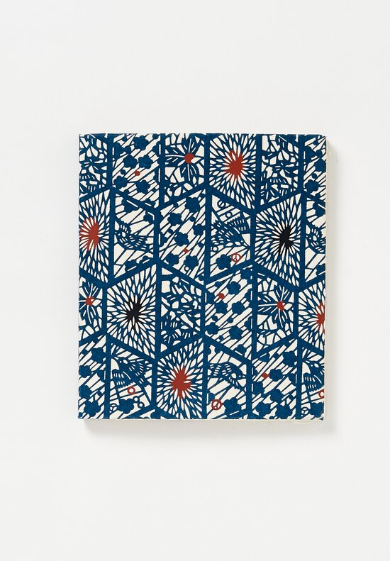 Elam Handprinted Japanese Chiyogami Paper Notebook in Bird Cage/ Blue