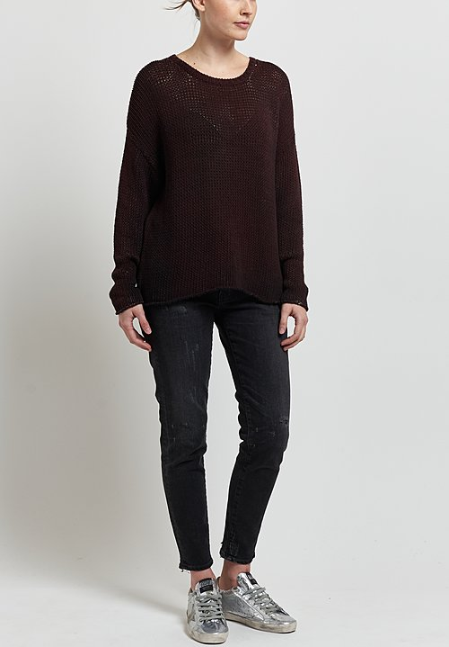 Avant Toi Loose Knit Sweater in Nero/ Terre