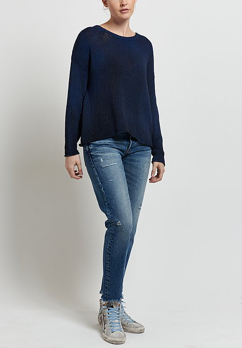 Avant Toi Loose Knit Sweater in Nero/ Denim