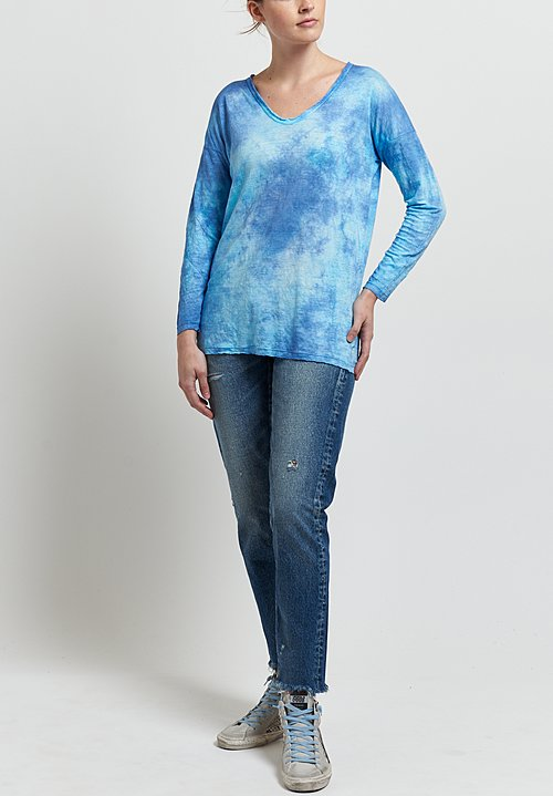 Avant Toi Linen V-Neck Tee in Turchese