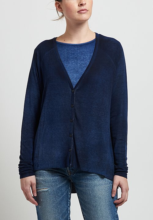 Avant Toi Micromodal/ Silk Ribbed Cardigan in Nero/ Denim